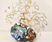 Crystal Bonsai Gem Tree, Tree Sculpture, Aquamarine Gemstone Tree, Gold Wire Tree, Anniversary Gift, Natural Home Decor, Spiritual Gifts