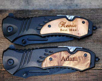 6 Groomsmen Gifts, Personalized Knives - Engraved Wood Handle Pocket Knife - Groomsman Gift Best Man Gift, Ring Bearer Gift - Tactical Knife