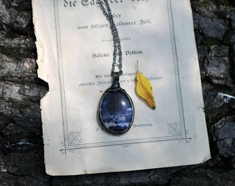 Amazing Sodalite necklace, eco tin, nickel and lead free, natural necklace, oval gemstone, navy blue, long chain, mariaela, boho jewelry