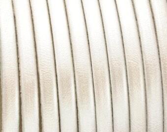 ON SALE 5MM White Metallic Flat Leather Cord