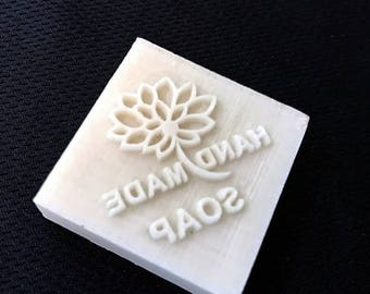 "Summer Sale! Handmade Soap Stamp Seal - Lotus with text ""HANDMADE SOAP"""