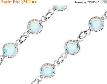 40% OFF Swarovski Channel Crystal AB Chain -Silver Plated Anti Tarnish, Crystal SS29-6.32mm, By Foot - Chain29S-CLab