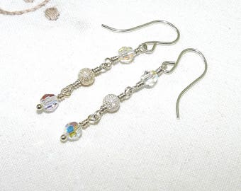 Swarovski Crystal Argentium Silver Dangle Earrings, Sterling Beads, AB Beads, French Ear Wires, Drop Earrings, Bridesmaid, Wedding, Prom