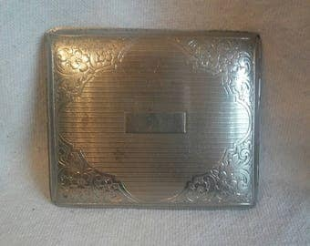 Antique Silver Plate Cigarette Case Marked Evans USA Beautiful Detailed Floral Circa 1950s