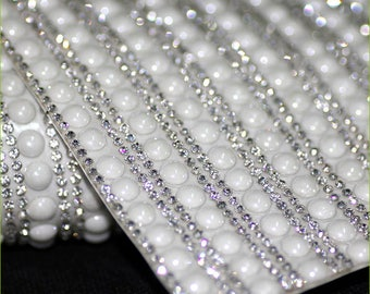 Clear and Ceramic Pearl - Glass Rhinestones Self Adhesive Applique  / Sticker Sheet
