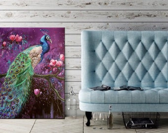 PEACOCK PAINTINGS, Peacock wall art,peacock decor,original peacock oil painting, peacock wall decor, large wall art ,peacock paintings