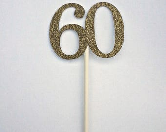 60 cupcake toppers, 60th Birthday, 12 ct 60th Cupcake Toppers, Sixty Birthday Gold Glitter Cupcake Toppers, Sixtieth Anniversary Party Ideas