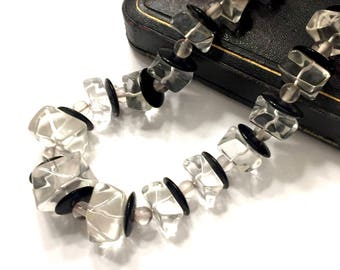 "Black & Clear Lucite Necklace, Large Clear Lucite ""Ice Cube"" Beads, Black Lucite Disc Spacers, Clear Round Beads, Vintage Statement Necklace"