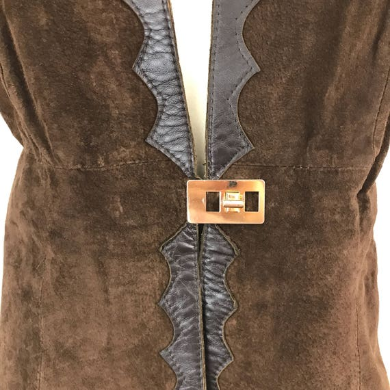 Suede waistcoat vintage brown real leather vest long boho 1970s hippy festival 70s UK 16 leather scalloped edge