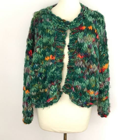Vintage cardigan green wool handknitted sweater chunky cardi UK 16 18 plus size oversize handknit jumbo rainbow