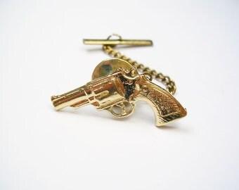 Rvolver Tie Tack Gun Tie Pin with chain Formal Wear Tie Accessory Men's Jewelry vintage Tie Tac