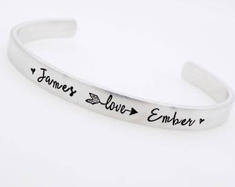 Custom Couples , Handstamped Jewelry, Add your names, Valentine's Day Gift, For her Anniversary, Personalized name  bracelet, gift