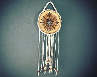 Hand Drawn Painted Macrame Ornament