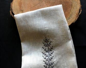 Natural Tea Towel - Twig Embroidered Tea Towel - Botanical