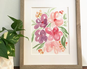 Pink & purple watercolor florals | Original, signed painting