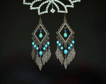 Wife Statement Gift Boho Jewelry Long Earrings Tribal Gift for mom Boho Earrings Copper Jewelry Boho Jewelry Mom