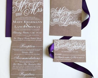 Mr. & Mrs.   Lace and burlap   All-N-One wedding Invitation   Tri-fold with attached RSVP   Deposit to get started