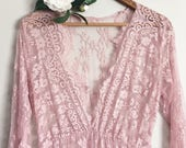 CAMILLE •new color• lace maternity gown long sleeve floor length rose eyelash