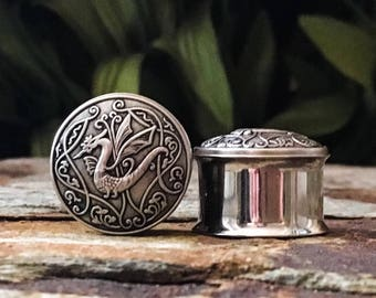 Dragon Plugs, gauges in Antique Silver 5/8, 3/4, 16mm, 19mm