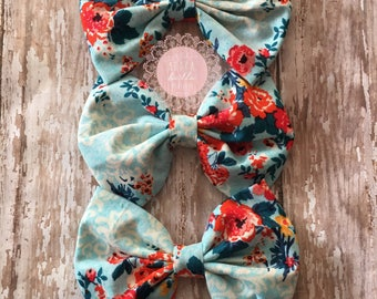 Aqua and Orange Large Floral Print Boutique Bow, Girls Bow, Toddler Bow
