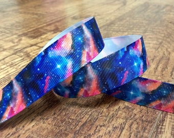 5 yards 7/8 galaxy ribbon. Galaxy ribbon, space ribbon, space hairbows, grosgrain ribbon, craft, crafting, sewing