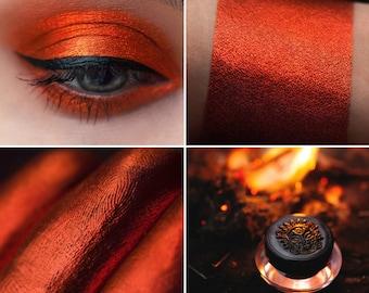 Eyeshadow: Magician of Fire - Nomad. Flaming orange-red metallic eyeshadow by SIGIL inspired.