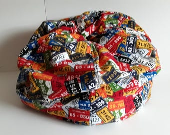 Child's Bean Bag Chair with license plates theme