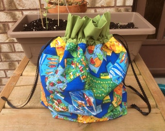 Small Knit or Crochet Project bags - hawaiin shirt print