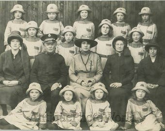 Salvation Army officers with girls in uniforms antique rppc photo UK