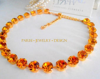 Topaz / Swarovski Crystal Necklace / Choker /  SS47 Yellow Gold Tennis Cupchain / Collet Necklace / Georgian / Birthday gift for her