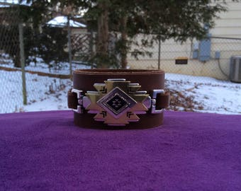 Brown Leather Navajo Style Cuff Bracelet