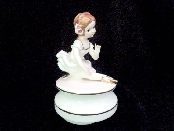 Vintage Ballerina Music Box, Schmid Brothers Japan, Porcelain Music Box, Ballet Dancer Music Box