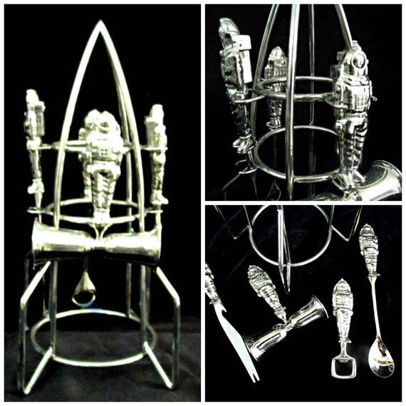 Bar Tools, Bar Set, Spaceman Bar Tool Set, International Silver Astronaut Bar Tools