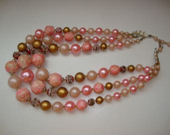 Vintage Pink Beaded Triple Strand Necklace Made In Japan