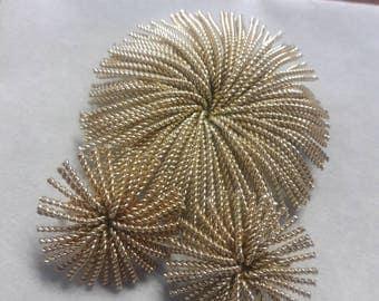 Vintage Starburst Brooch & Earrings Signed Bergere