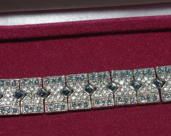 Jackie Kennedy Crystal Bracelet - Rhodium Plated, Blue and Clear Stones, Box and COA - Sz 7