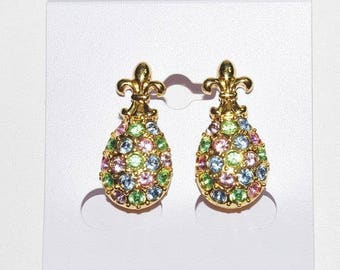 Joan Rivers Egg Earrings -  Multi Color Crystal Pierced - S1500