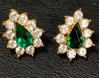 Emerald Green Teardrop Earrings with Crystals  Pierced - S2218