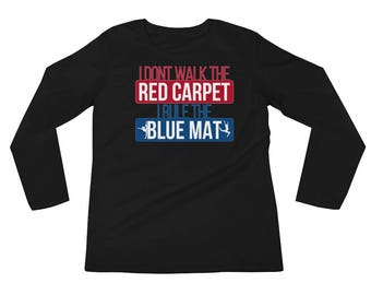 Rule The Blue Mat Gymnastics Leotard Long Sleeve Red White Blue