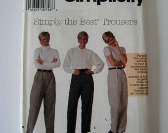 High Waist Pants Sewing Pattern Simplicity 7800 Pleated Front Mom Jeans Optional Cuffs Trousers Size 12 14 16 UNCUT