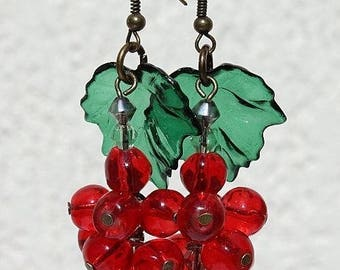 """Bronze glass and lucite """"Small gooseberries"""" earrings"""