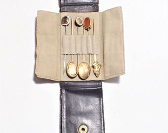 Leather Stick Pin Case With Six Stick Pins Enamel Glass Gold Filled