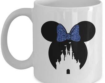 Magic Castle Mouse Mug Gift Blue Bow Love Fan Fanatic Magical Coffee Cup