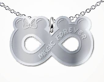 Magic Forever Mouse Infinity Necklace Ears Bow Love Gift Jewelry