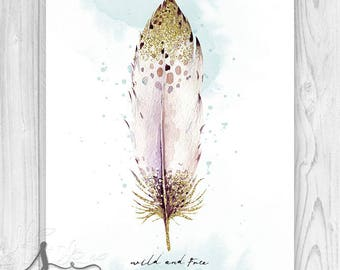 Wild and Free Typography Art with gold tip feather, Wild + Free Art, Bohemian Feather Art, Boho Decor, Wild and Free Boho Wall Art Print