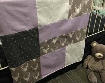 Baby blanket , deer heads, lavender, hearts on grey, birch trees , grey minky