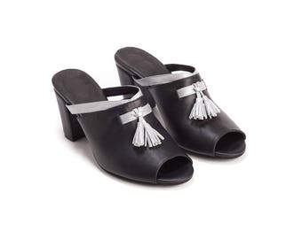 Black Mules, Tassel Mules, Chunky Heels, Mules, Heels, Summer Shoes,  Leather Shoes, Womens Shoes, Sandals, Leather Shoes, Handmade Shoes