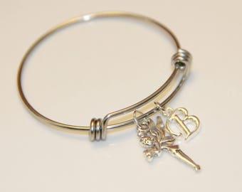 Expandable Wire Charm Bracelet - Silver