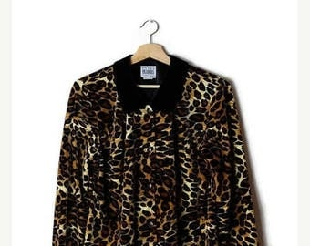ON SALE Vintage Leopard x Black Trim  Long Sleeve Blouse  from 90's*