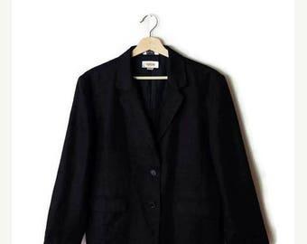 ON SALE Vintage Plain Black pure Linen Blazer Jacket  from 90's/Minimal/Minimalist*